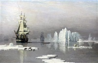 sailing ships in the arctic with polar bears and seals by john ward