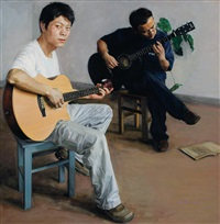 two guitarists by meng xin