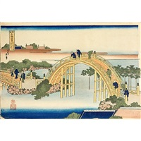 four woodblock prints: one from the series remarkable views of bridges in various provinces and three from the series one hundred poems explained by the nurse by katsushika hokusai