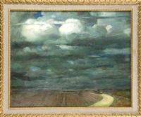 landschaft mit pferdewagen auf einem feldweg (+ portraitstudien seiner schwester hedwig haueisen, verso) by albert haueisen