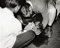 critically wounded. senator robert f. kennedy lies on the floor (+ 2 others; 3 works) by ron bennett