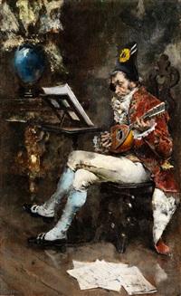 höfischer mandolinenspieler im salon by giovanni boldini