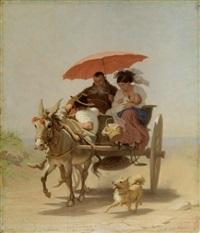 eselsgespann mit kapuziner und junger mutter by alfred van (jacques) muyden