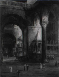 townspeople and clergy in cathedral by william henry haines