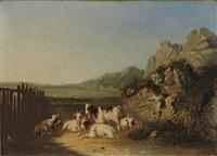ziegenherde in südlicher landschaft mit see und hügeligem horizont by joseph eduard tetar van elven