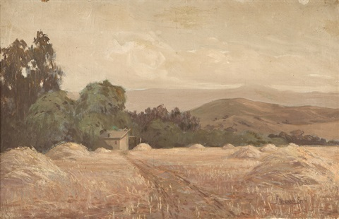 hay fields and barn in a california landscape by jack wilkinson smith