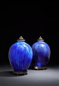 lidded jars (pair) by soren berg and knud andersen