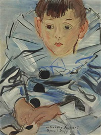 portrait de claude moulon en habit de pierrot by raoul dufy
