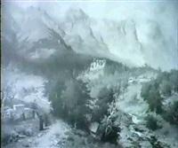 gebirgslandschaft mit blick auf das castel palesch by adolf becker