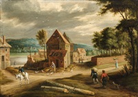 landscape with a village by peter gysels