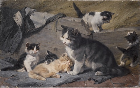 katzenfamilie by julius adam unattributable
