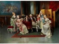 höfisches interieur mit galanter gesellschaft by a. stephan