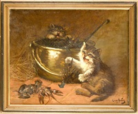zwei verspielte kätzchen mit flusskrebsen by léon charles huber