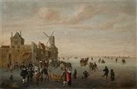 eisvergnügen vor einer holländischen stadt by cornelis beelt