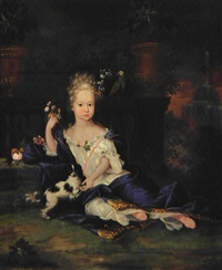 de lille adelsfroken sidder på en terrasse med sin charmerende cavalier king charles spaniel by jacques (jacob) d' agar