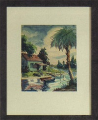 coastal florida scene with white cottage, colored skiffs and palms by mark dixon dodd