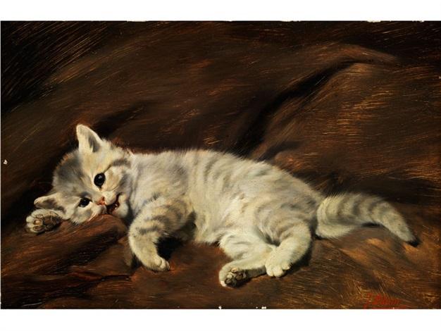 auf braunem tuch liegendes weißgestreiftes kätzchen by julius adam the younger