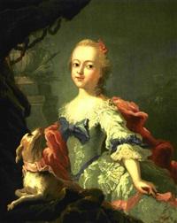 prinsesse louise i lyseblå silkekjole, rødt sjal og rød sløjfe i håret, ved hendes side en hund by peder als