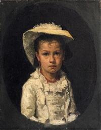 porträt eines mädchens in weißem rüschenkleid, das hochgesteckte haar von einem sommerhut bedeckt by charles clement denet