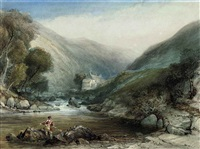 an angler on the lyn at lynmouth, devon by samuel jackson
