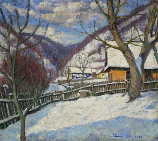 winterliche schneelandschaft by géza kádár