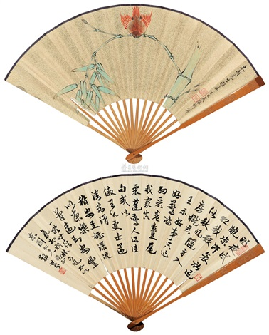 翠竹小鸟 bamboo and bird calligraphy by zheng shifen verso by xi chengqi