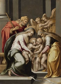 the holy family with elisabeth, the infant john the baptist and two angels by lorenzo sabatini