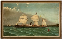 british sail assisted steam ship flying a red ensign flag and departing from a harbor by charles keith miller