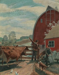 farm scene by richard fayerweath babcock