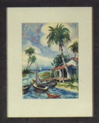 coastal florida scene with green cottage, colored skiffs and palms by mark dixon dodd