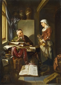 the scholar and his maid in an interior by hendrik heerschop