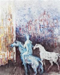 blauer reiter mit schimmel by rudolf weber