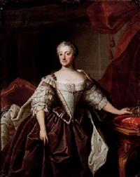 porträtt av drottning lovisa ulrika, stående knästycke i interiör by olof arenius
