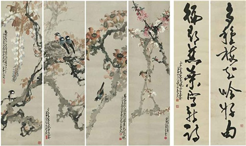 spring birds/calligraphic couplet by zhao shaoang