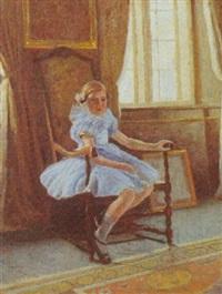 interior med pige i stol by poul corona