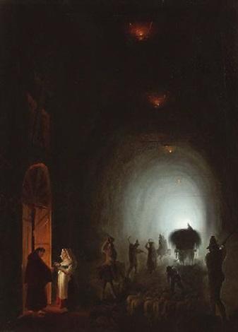 blick in die grotta puzzoli in neapal by vincenzo abbati