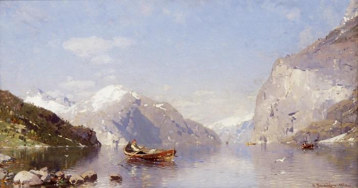 ruderboot im fjord by georg anton rasmussen