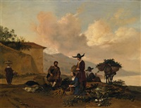 landscape with a vegetable seller by hendrick mommers
