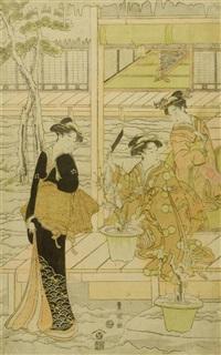 drei damen im winterlichen garten (oban) by utagawa toyokuni (toyokuni i)