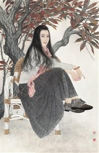 万里霜天静寂寥 (a lady sitting alone) by song yanjun