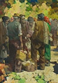 contadini al mercato dei polli by giulio da vicchio