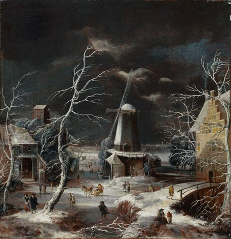 dorfansicht im winter by abraham beerstraten