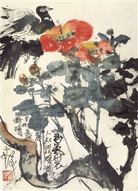 camellia and bird by cheng shifa