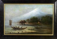 view of mount fuji with fishing craft in the foreground by fritz siegfried george melbye