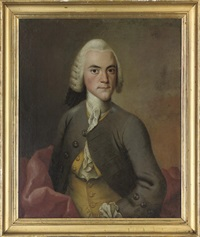 portrait of j. wichfeld in a grey coat by isak wacklin