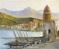 the old harbor at collioure, france by a. le roy
