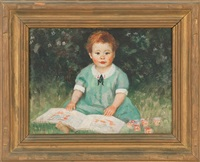 portrait of a young girl with blocks and a book by harold c. dunbar