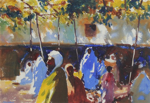 middle eastern street scene with figures by john whorf