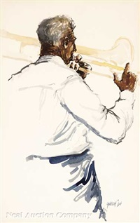 trombone player, clarinet player and seated trombone player (3 works) by rolland harve golden