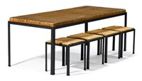osetsu dei dining set: rectangular table, square stools (5 works) by danny ho fong